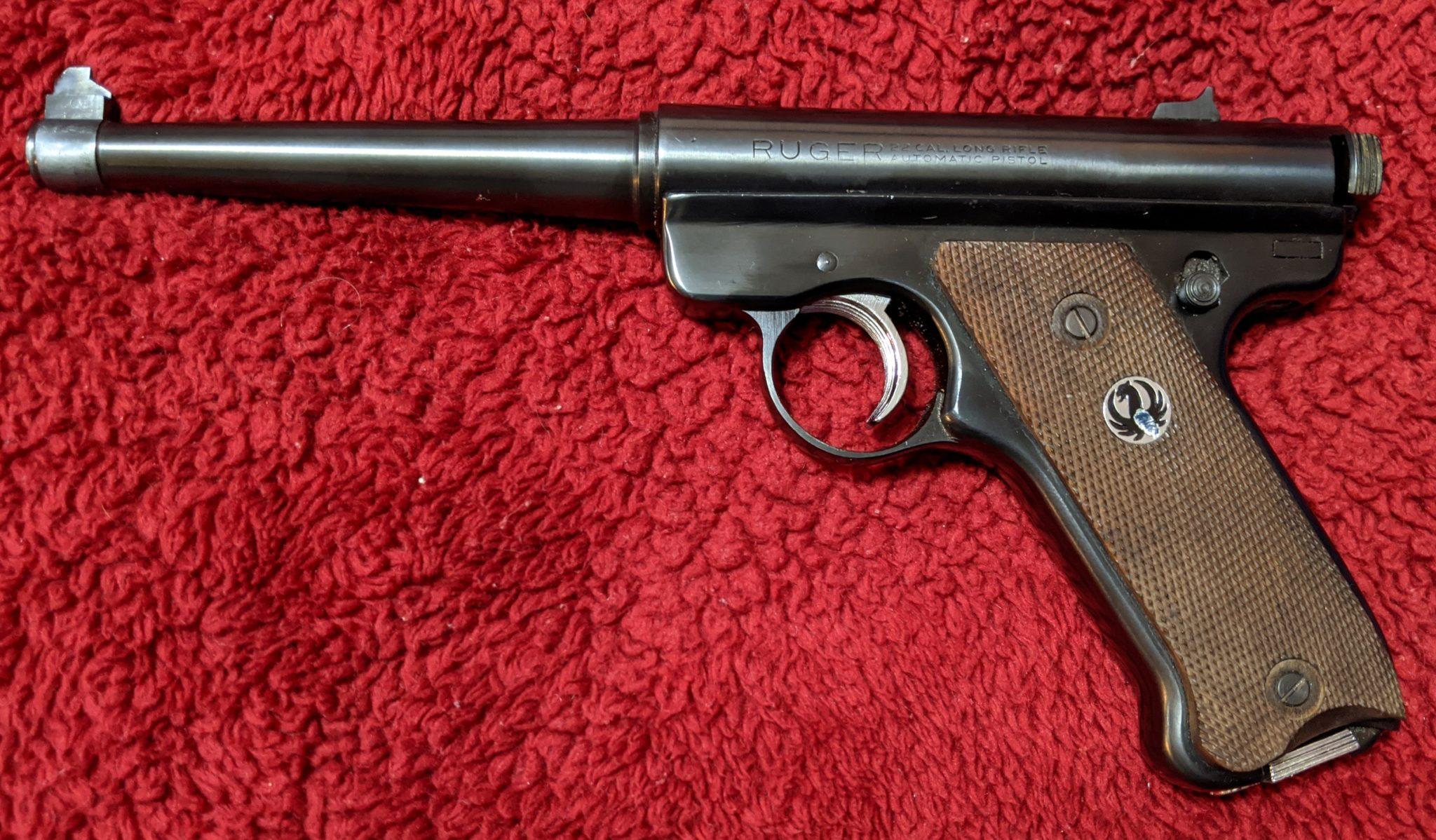 "Ruger Mark I with a 6"" barrel"